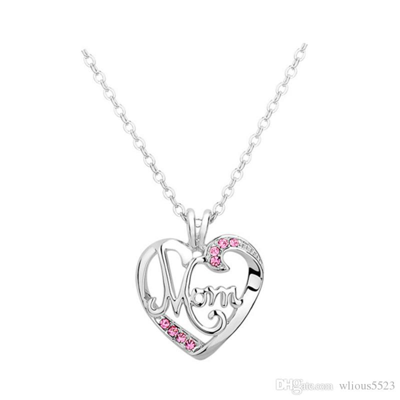 Wholesale mothers day new womens heart shaped letter mom hollow wholesale mothers day new womens heart shaped letter mom hollow necklace wild simple alloy diamond pendant necklace emerald pendant necklace pendant aloadofball Images