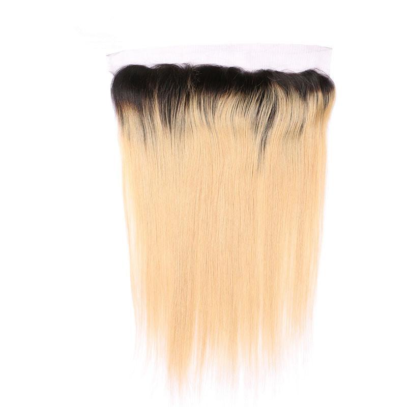 الظلام الظلام 1B / 27 العسل شقراء أومبير شعر الإنسان 3 حزم مع 13x4 الرباط أمامي إغلاق مستقيم عذراء البرازيلي الإنسان الشعر ينسج
