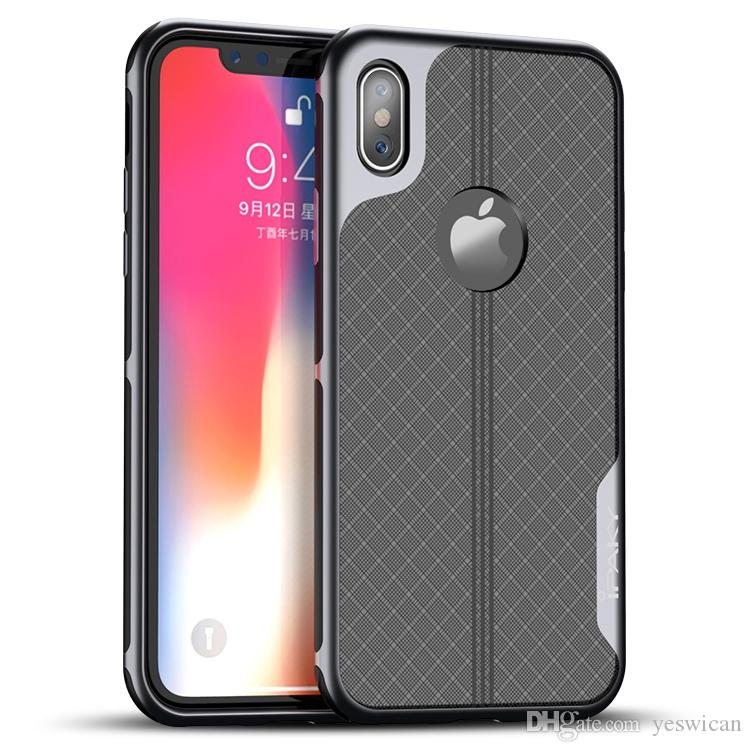 new style 38148 d6cde Wholesale iPaky Case For iPhone X Electroplating Back Cover iPhone 10  PC+TPU 2 In 1 Hybrid Hard Soft Cases With Retail Package