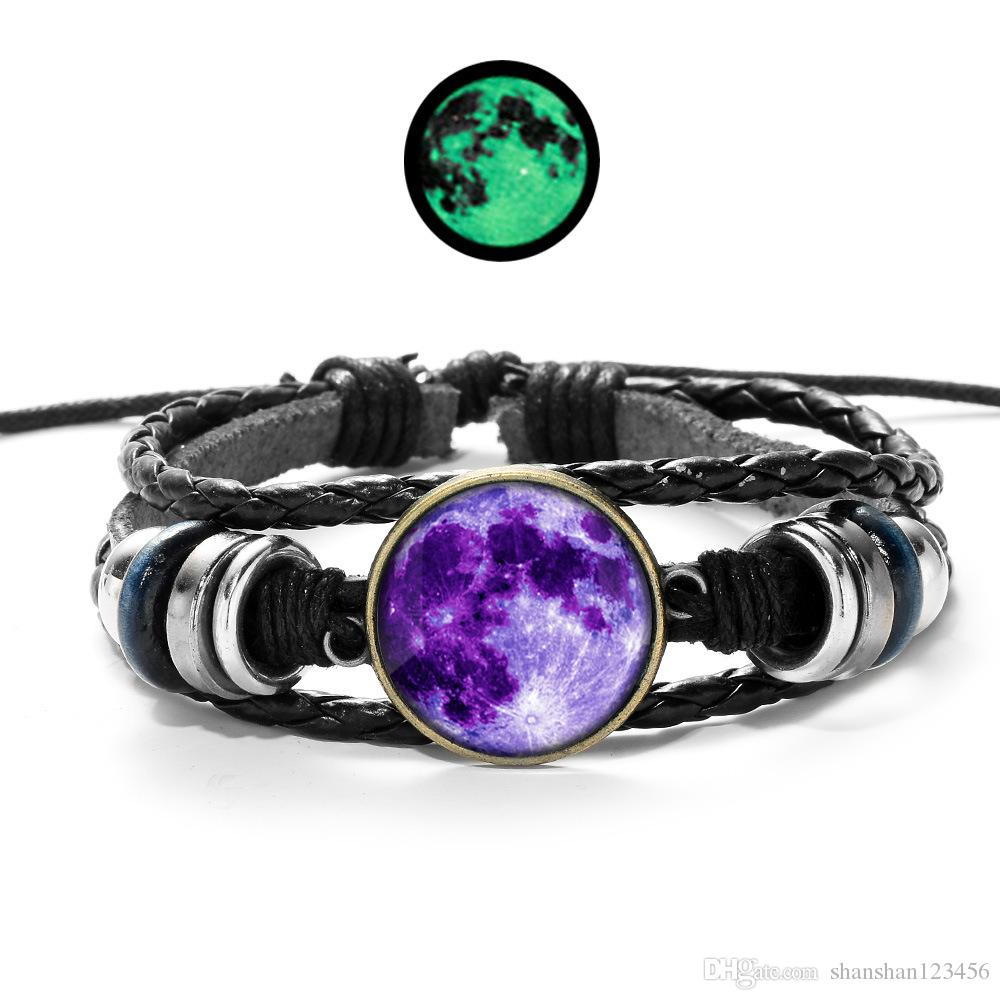 fashion Luminous Star Series Bracelet Black Handmade time gemstone pendant Rope Weave Multilayer Leather Bracelet Glass Cabochon DHL 320063