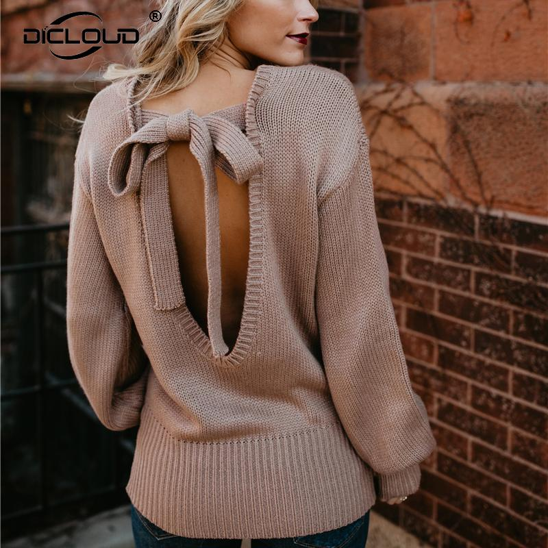 fb3d8bb3fff Acheter Sexy Backless Bow Pull Femme Hiver 2018 Mode Tricoté Chaud Pull  Femmes Lanterne Manches Pulls Et Pulls Casual Pulls De  31.86 Du  Insightlook ...