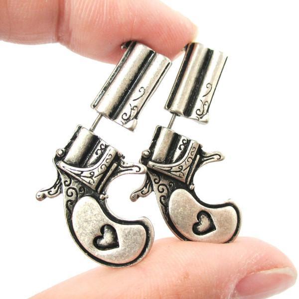 Hfarich Stud Earrings Fake Double Pistol Gun Shaped Faux Plug Women Earing DWED090