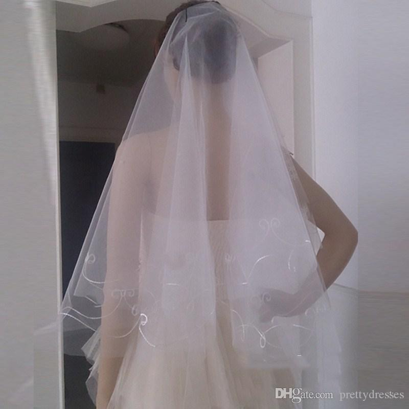 Wholesale Cheap Tulle White Red ivory Bridal Veil One Layer Bridal Wedding Hair Accessories Around 1.5m Long Simple