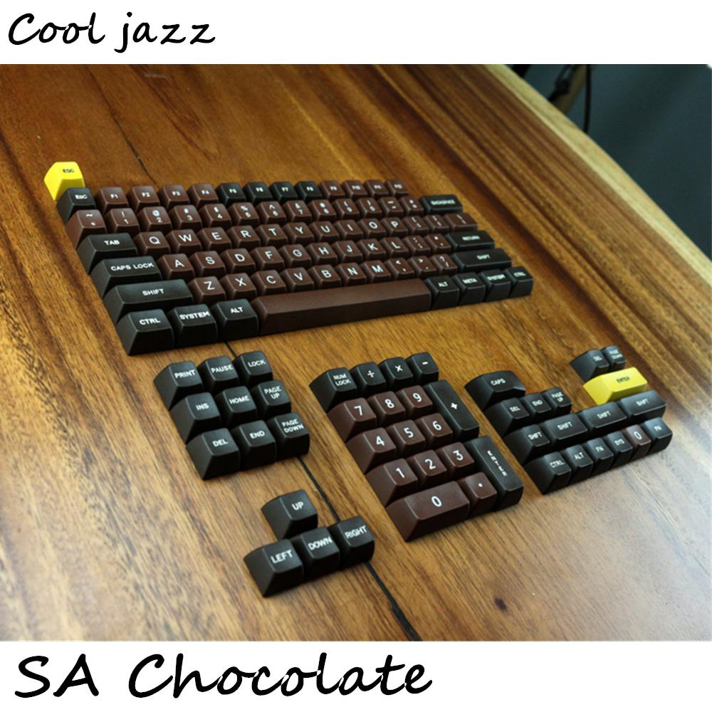 Chocolate SA profile r1 r2 r3 Etched Laser Coloring fonts PBT keycap For  Wired USB mechanical keyboard Cherry MX switch keycaps