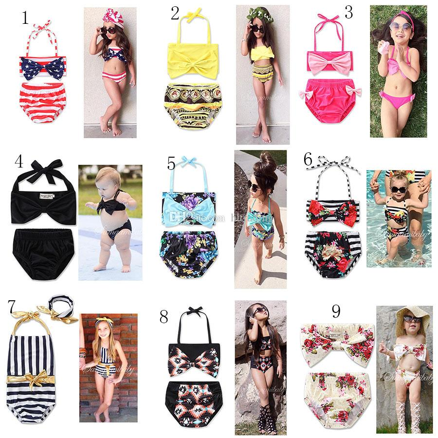 New Girl Floral American flag swimwear outfits cotton children Bow Bikinis Swimsuit Baby Clothing 13 colors C2137