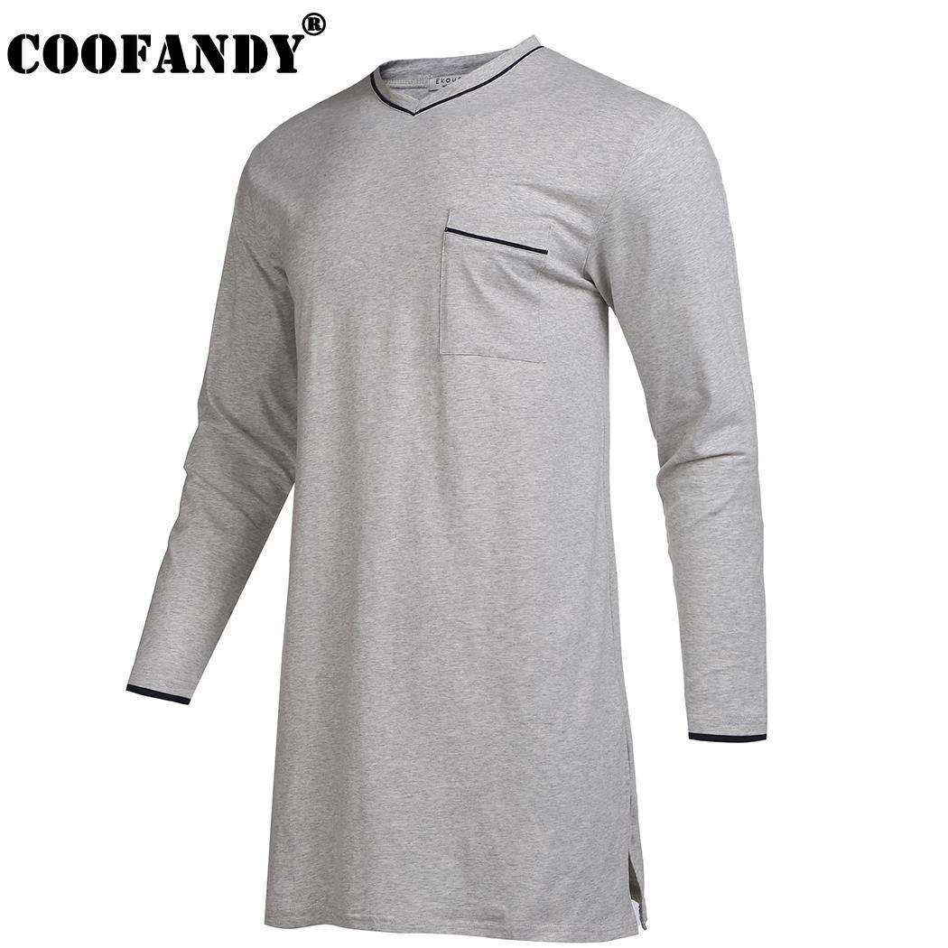 2019 Sleepshirt V Neck Long Sleeve Split Pocket Loose Fit Men Sleepwear  Nightshirts From Yesterlike c485aa373