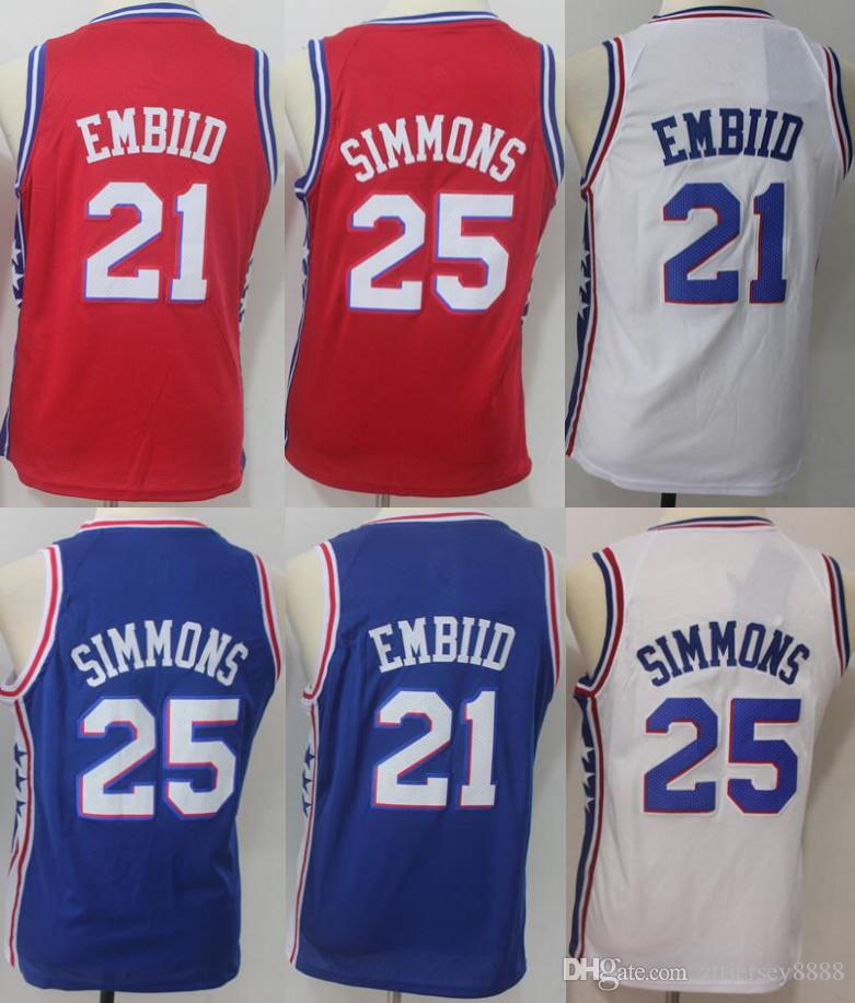 0e68ee313e0 ... inexpensive best quality 25 ben simmons 20 markelle fultz 21 joel  embiid youth basketball jersey kids