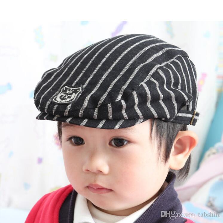 ab278f1d2484 Gorra encantadora clásica para los niños a rayas de moda boina bebé pato  gorra moda niños sombreros venta caliente