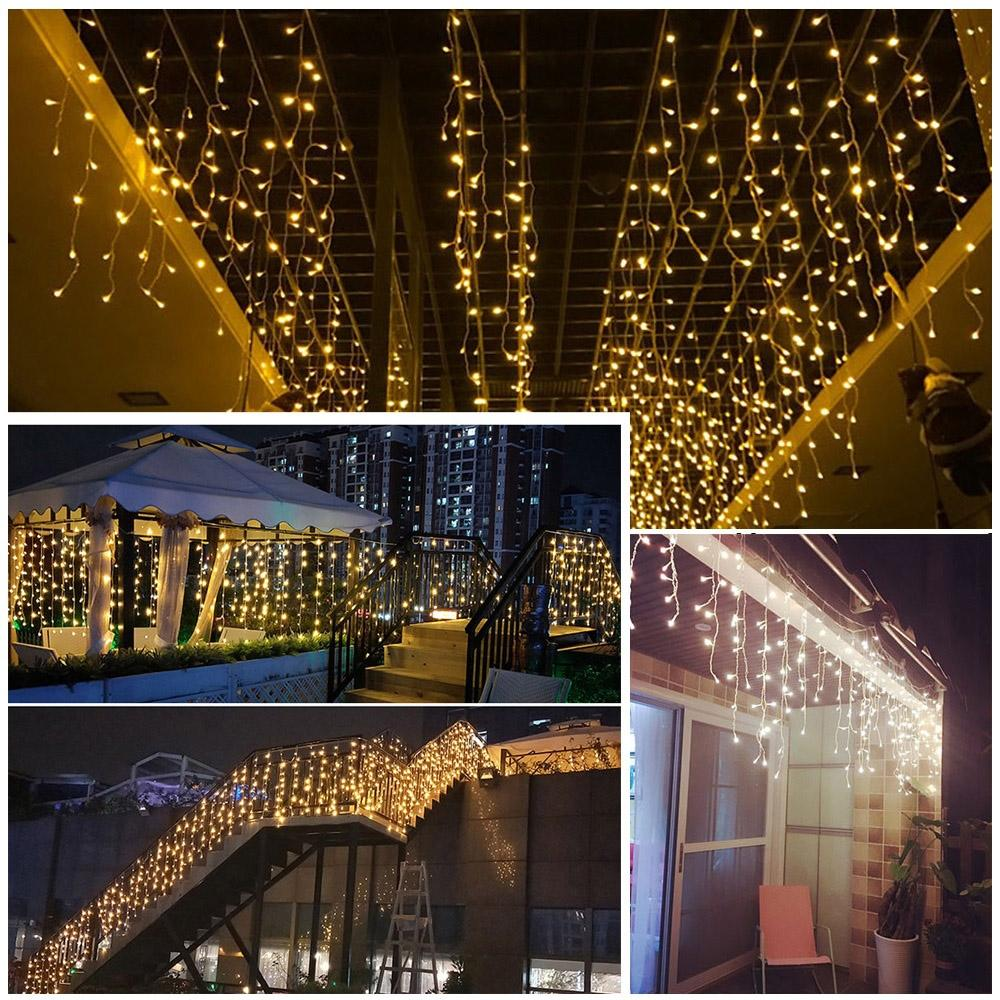 led curtain icicle string fairy light wedding party garden decoration christmas light led strings fairy lamps curtain icicle 304 leds light commercial led