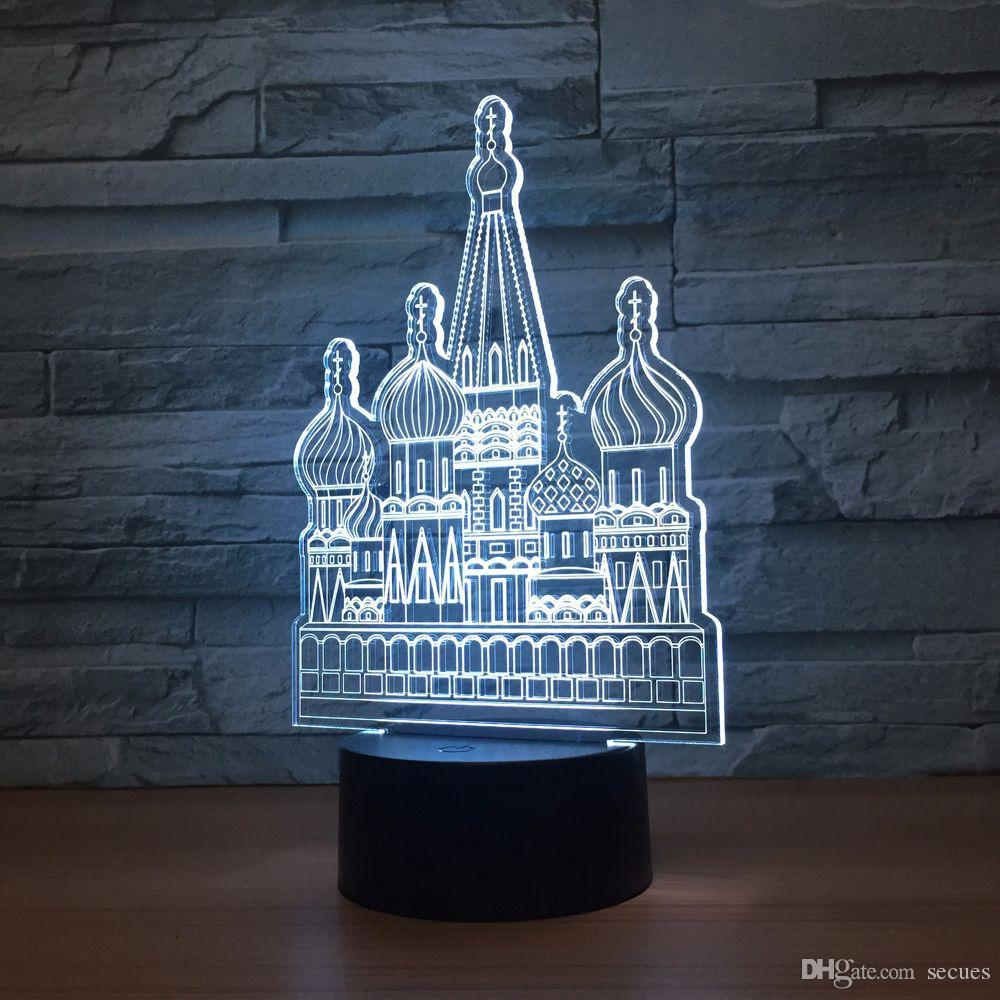 Russian Castle 3D Optical Illusion Lamp Night Light DC 5V USB Powered 5th Battery Wholesale Dropshipping