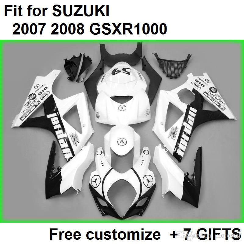 High quality fairing kit for Suzuki GSXR1000 07 08 white black fairings set GSXR1000 2007 2008 VF89