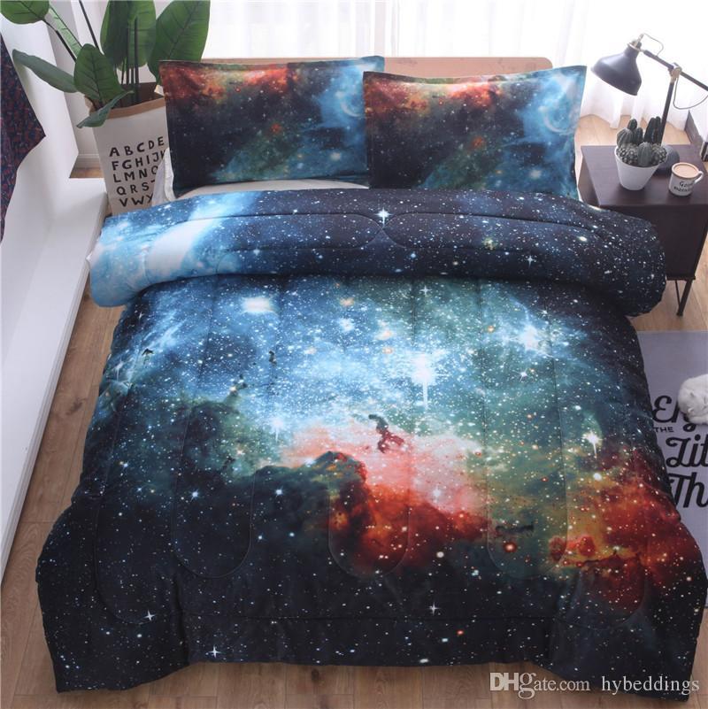 2019 Comforter Set 3d Star Galaxy Duvet With Pillowcaes Warm Soft