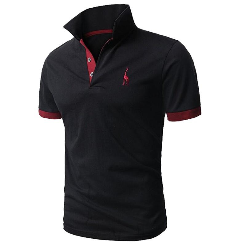 Men 'S Fashion Casual Polo Shirt Personality Giraffe Embroidery Design Short -Sleeve Tops Tees Luxury Polo