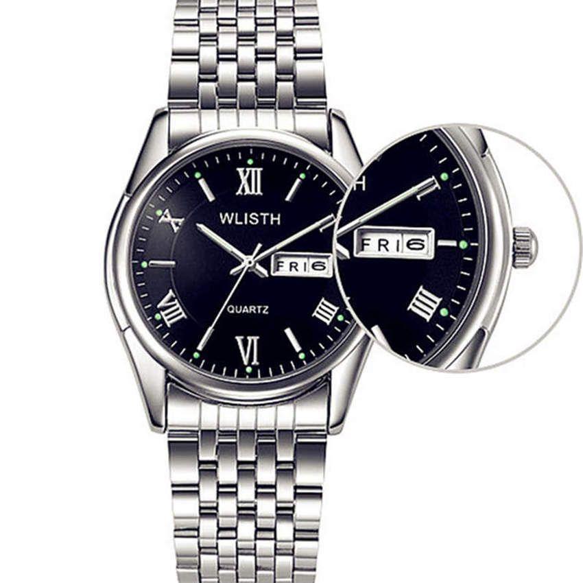 WLISTH Men Watch Watchband Stainless Cteel Wrist Watch Male Fashion Quartz  Clock Waterproof Calendar Black Brands Hour FD1343 Watch Deals Online Wrist  Watch ... 318ee6f0b478