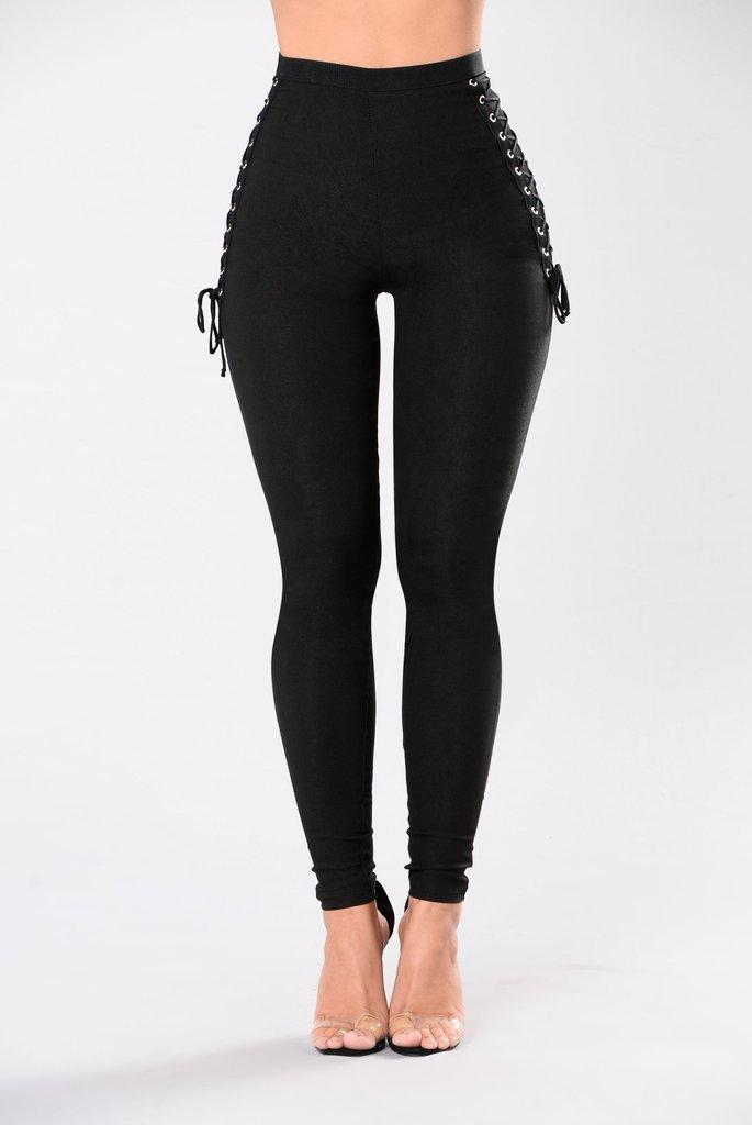 215392ed7c065 2019 2017 New Side Lace Up Pants High Waisted Thick Leggings Jeggings  Stretch Skinny Trousers From Balsamor, $20.86 | DHgate.Com