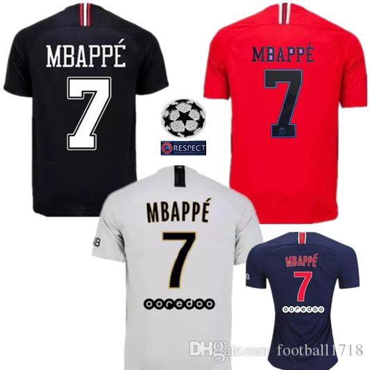 2019 18 19 Paris Soccer Jerseys 2018 2019 MBAPPE VERRATTI CAVANI JR PSG  Champions League Saint Football Shirt Maillot De Foot Germain Uniforms From  ... 67125929e