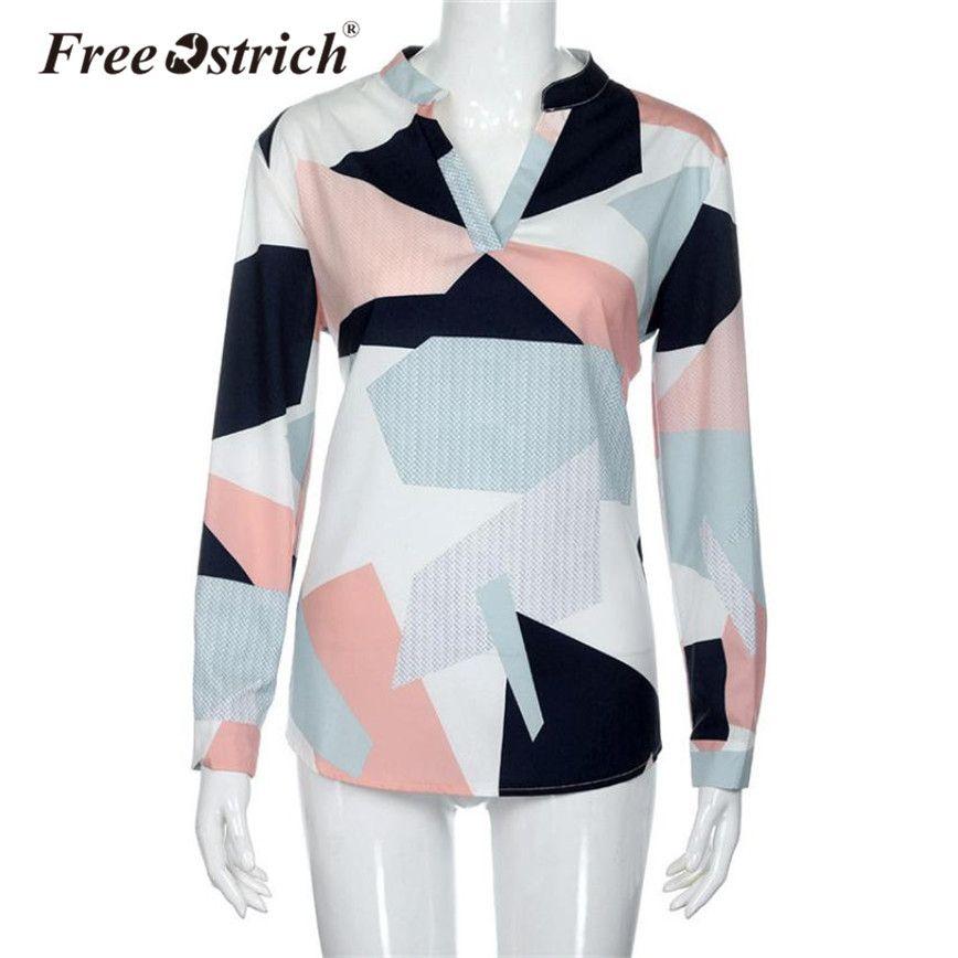 56764c869 Free Ostrich 2018 Women Blouse Geometric Pattern V-Neck Full Sleeve ...