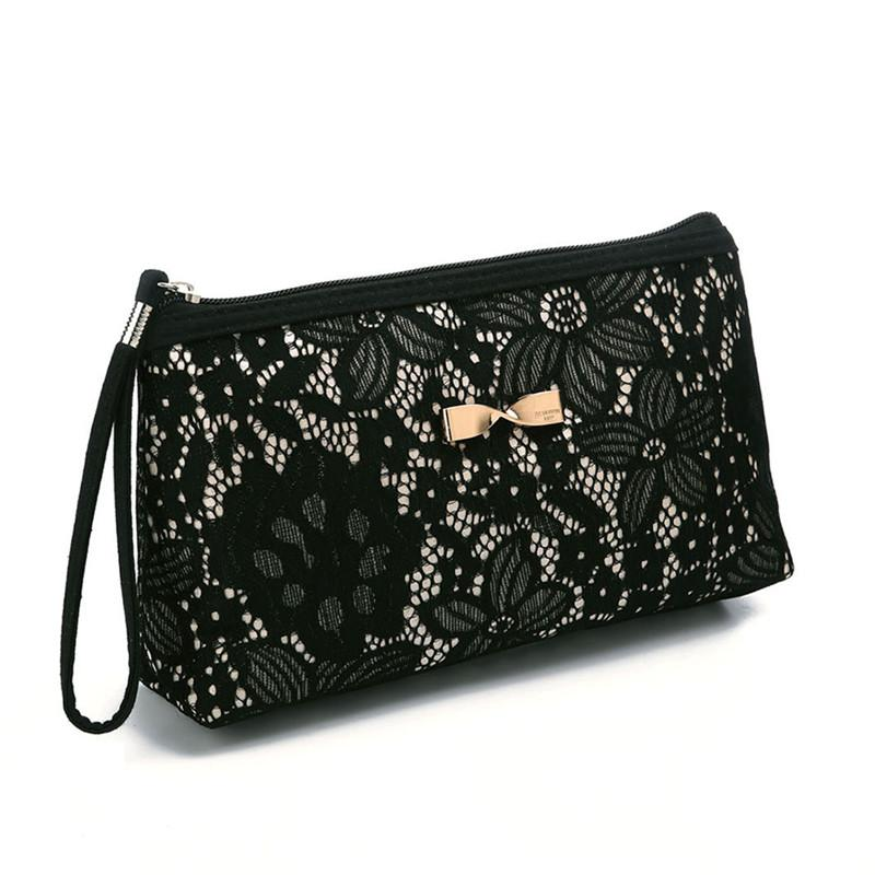 Lace Design Cosmetic Bags Women Daily Use Makeup Bags For Girls Fashion Bow-Knot Female Zipper Cosmetics Bag
