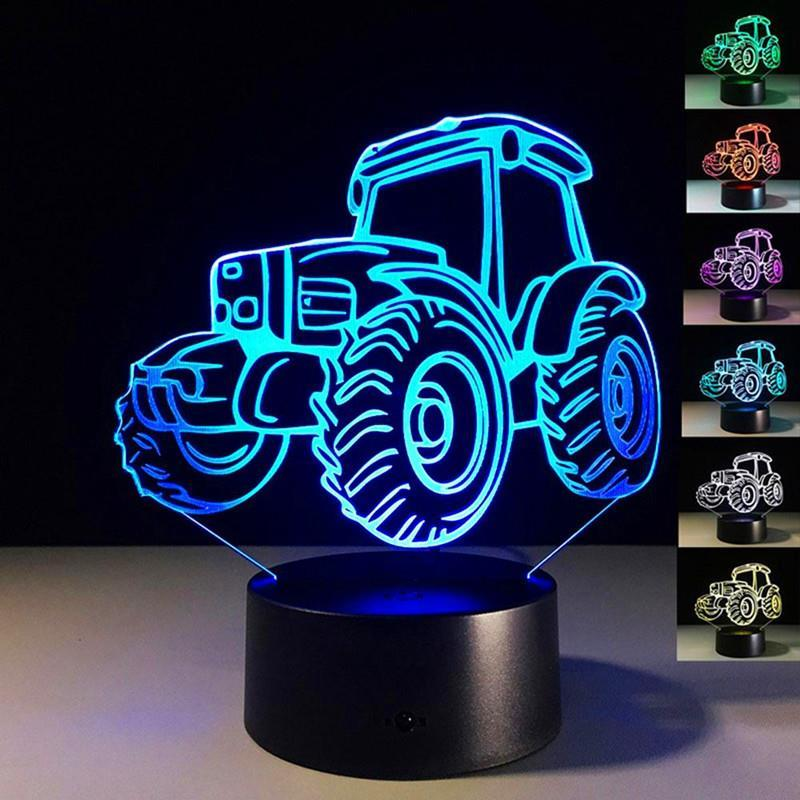 2019 Creative Tractor Shaped 3d Led Desk Light Colorful