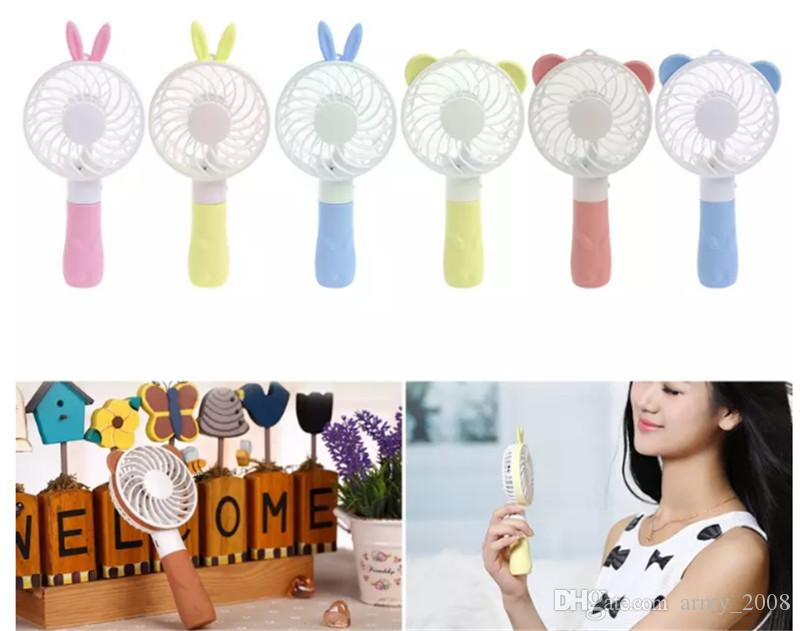 Rabbit Bear Mini Cartoon Handheld Fan USB Rechargeable Portable Cooling Fan for Home Office outdoor Kids Gift