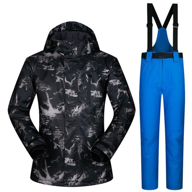 24bc35d204 Outdoor Winter Men Skiing Suits Waterproof Sportwear Men s Ski Wear Top  Hoodie Jacket Strap Pants Snow Jacket And Pants Skiing Jackets Cheap Skiing  Jackets ...