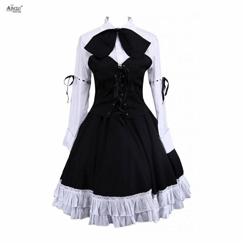 b3194874b3f Lolita Dress Suits Cotton White Long Sleeves Lolita Blouse And Black Skirt  Punk Cute Girls Suits Party Club XS XXL Group Costumes For Teens Funny  Halloween ...
