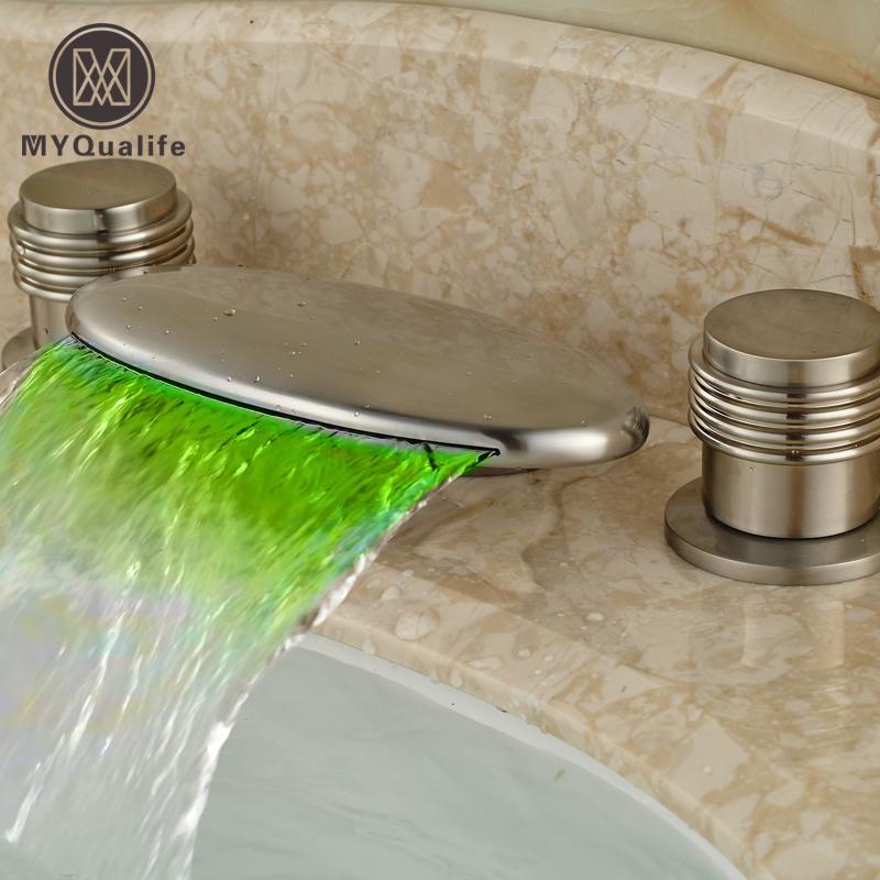 Großhandel Deck Mount RGB LED Licht Badezimmer Wasserfall Becken ...