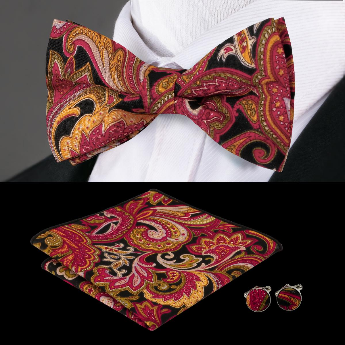 bca7f69f223e5 Hi-Tie New Style Bow Tie Set Paisley Bowtie Pocket Square Cufflinks Fashion  Cotton Bow Ties Fro Men Wedding Business Party Tie Set Business Tie Set Bow  Tie ...
