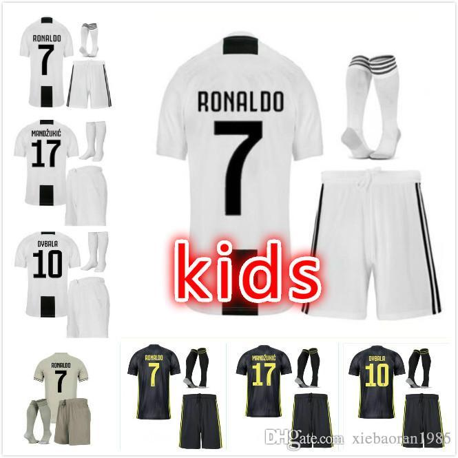 cf654f736 2018 3 18 19 Juventus Ronaldo Dybala Higuain Kids Kit Soccer Jersey 2019  Juve Marchisio Mandzukic Chiellini Buffon Child Football Shirt Uniform From  ...