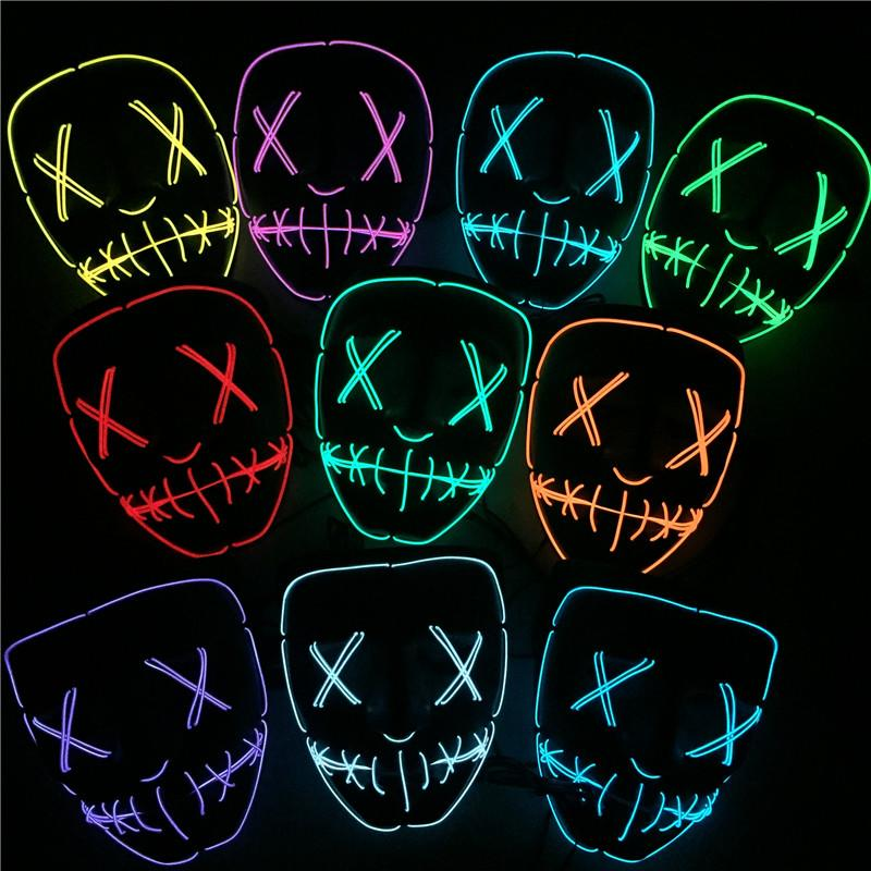 2018 Led Halloween Ghost Masks El Wire Slit Mouth Light Up Glowing ...