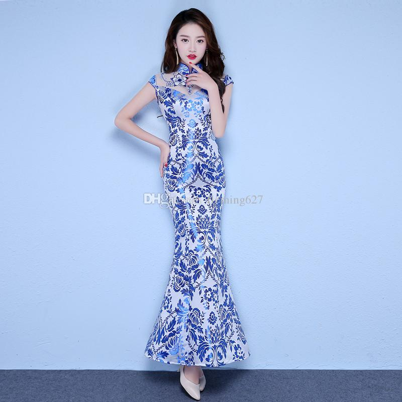 2019 New Fashion Summer Blue Cheongsam Party Dress Women Long Fishtail Elegant  Qipao Slim Short Sleeve Vestido National Chinese Tang Suit From Fleming627 b9ac502c7ba1