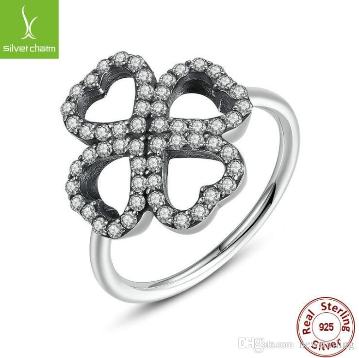 2018 Bamoer S925 Lucky Clover Wedding Rings For Women Pandora Style