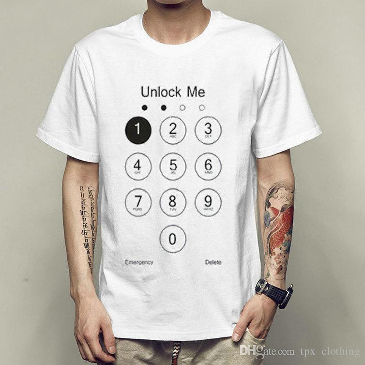 Unlock me t shirt Phone number short sleeve gown Cool tees Unisex clothing  Quality modal Tshirt