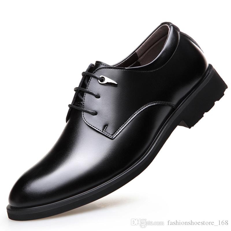 d10203481 Men Dress Shoes Wedding Genuine Leather Italian Fashion Business Oxford  Shoes 2019 Elegant Formal Shoes Men Lace Up Business Office Shoe Hiking  Shoes Sperry ...