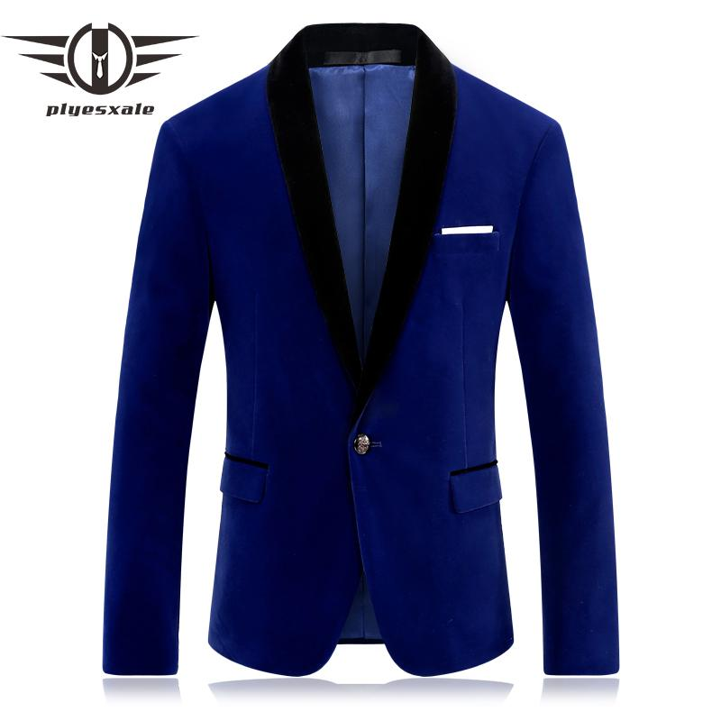 9b114415e31d 2019 Plyesxale Brand Red Blue Velour Blazer Men Slim Fit Mens Velvet  Blazers Casual Suit Jacket Stylish Prom Stage Clothing Q253 From Vineger,  ...