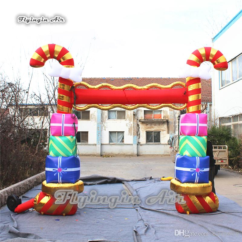 christmas inflatable decorations 35m height blow up candy cane arch custom gift box archway for entrance christmas inflatable decorations inflatable candy