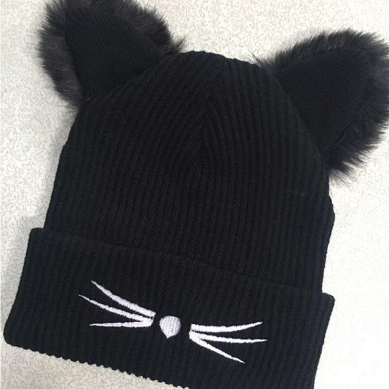 BONJEAN Women Thick Wool Knitted Beanie Hat Cat Ear Cap Winter Warm 2 Layer Black  Hats Skullies Pompom Caps Bonnet Femme Ladies Hats Crazy Hats From Meetsue  ... a548cab5eba