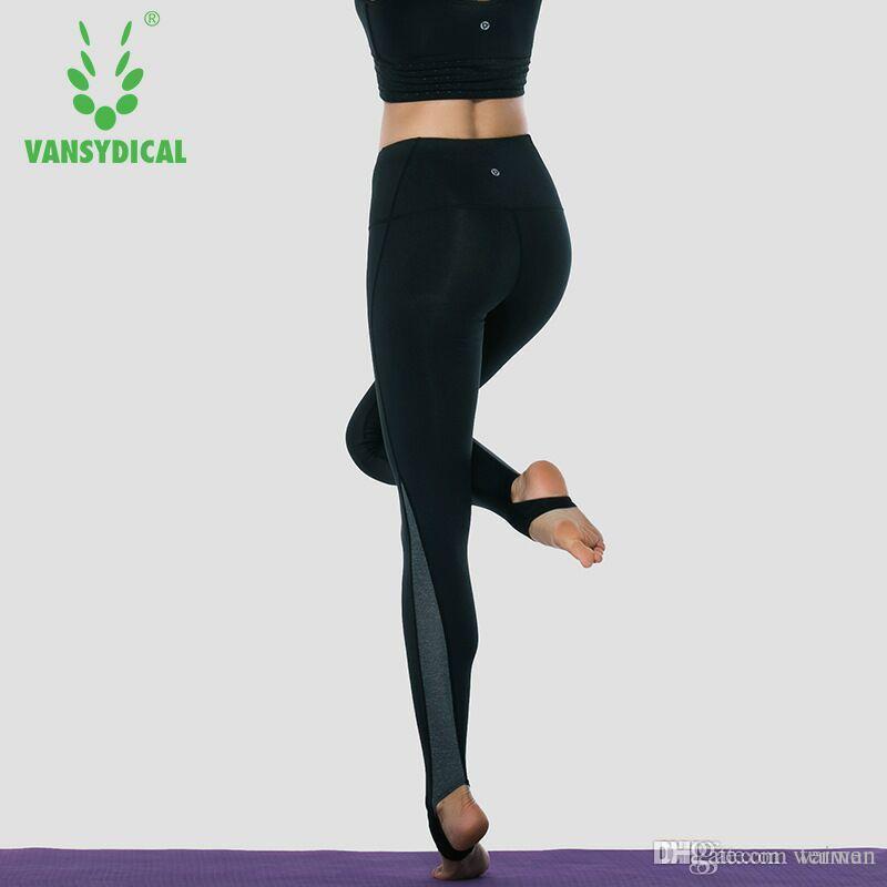 Compre Vansydical Pantalones De Yoga De Cintura Alta Fitness Para Mujeres Leggings  Deportivos Medias De Running De Secado Rápido Gimnasio De Entrenamiento ... c279425a29b3d