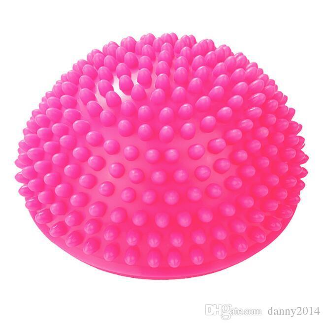 Pvc نفخ اليوغا الكرة تدليك نقطة نصف fitball الرصيد المدرب استقرار رياضة بيلاتيس اللياقة موازنة bosu كرات تدليك قدم حصيرة