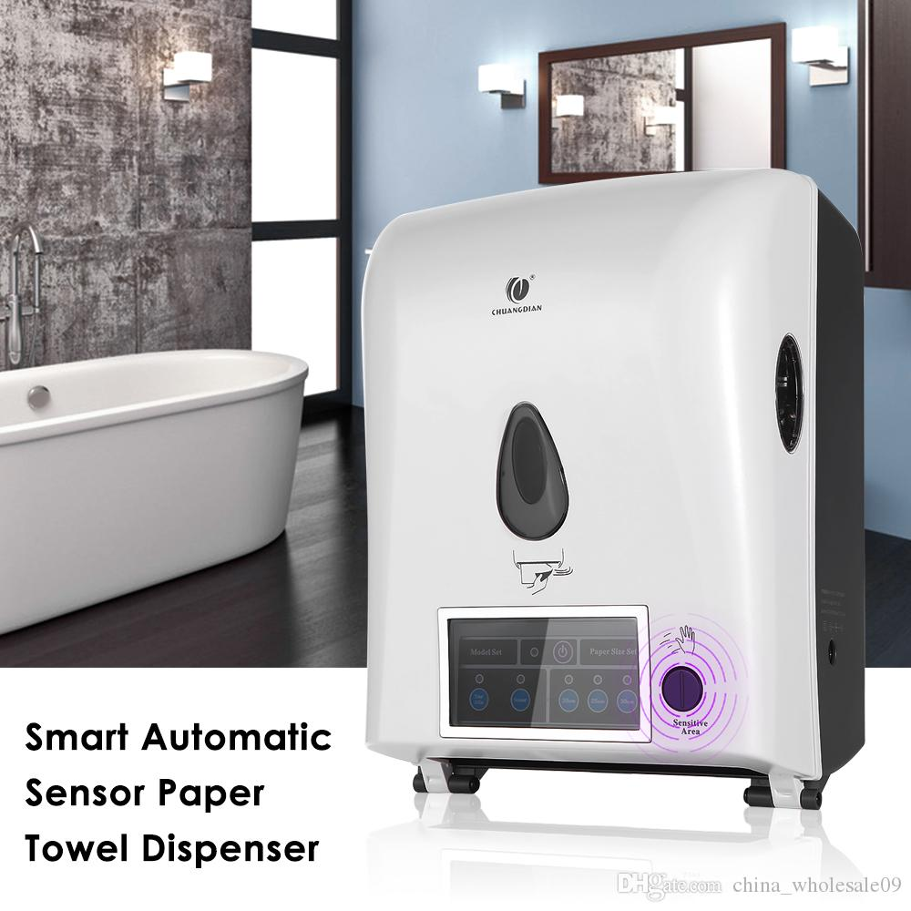 Automatic Sensor Roll Paper Towel Dispenser Wall Mount Paper Holder Auto Cut Jumbo Roll Tissue Dispenser for Bathroom
