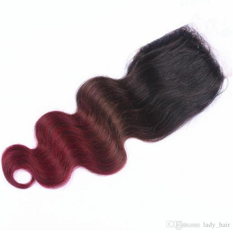 Body Wave Three Tone Colored #1B/4/99J Wine Red Ombre Peruvian Virgin Human Hair Weave Bundles with Burgundy Ombre 4x4 Lace Closure