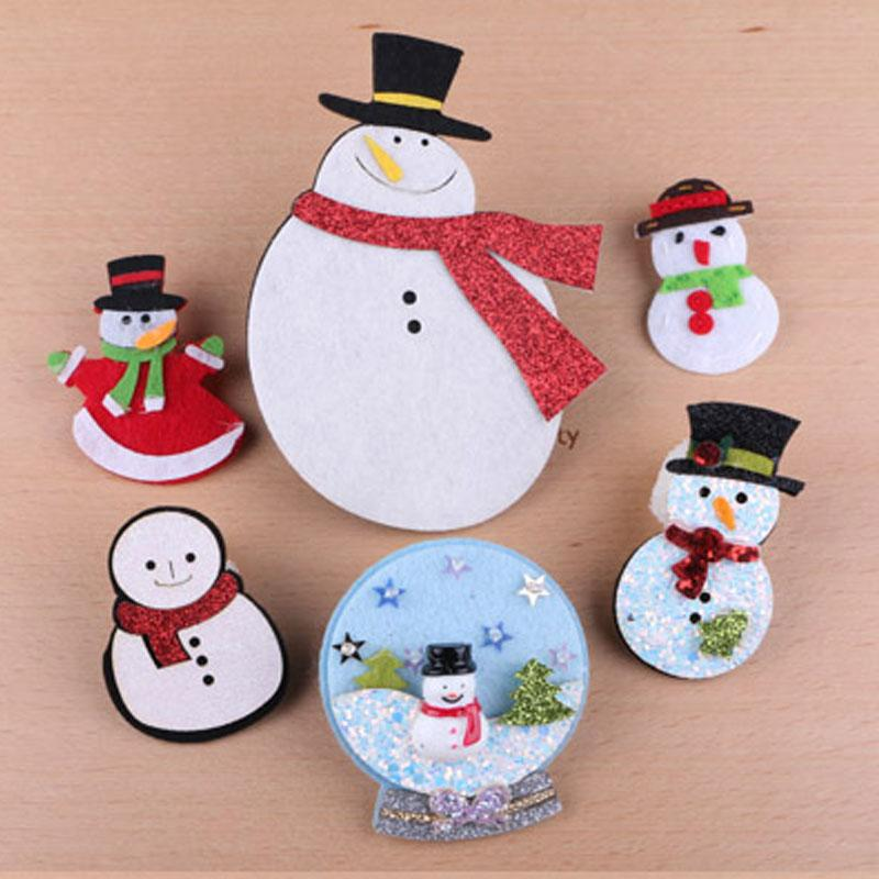 Christmas Headband Craft.20pcs Lot Handmade Wool Felt Button Stickers Glitter Bling Christmas Snowman Craft Sticks Fit Girl Women Hair Jewelry Headband