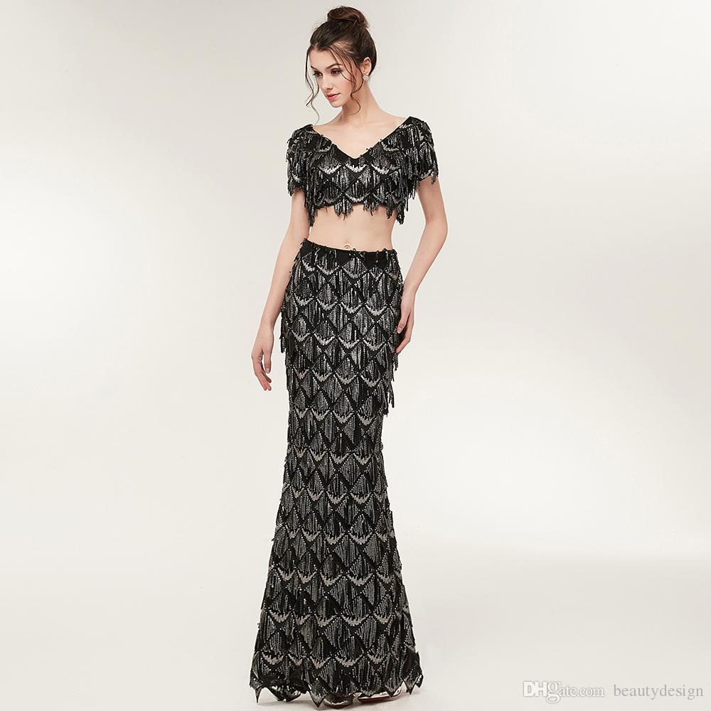 2018 New Design Black Fashion Two Piece Evening Dresses Short ...