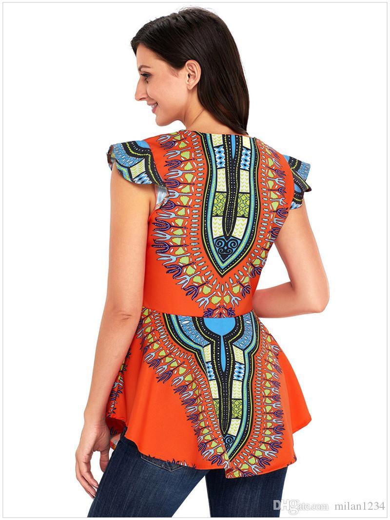 Femmes Africaines Imprimé Slim Fit Asymétrique Ourlet Manches Longues À Fermeture À Glissière Dashiki Chemisier Haut