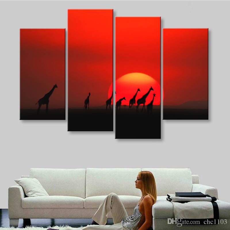 high-definition print African landscape canvas oil painting poster and wall art living room picture FZ4-002