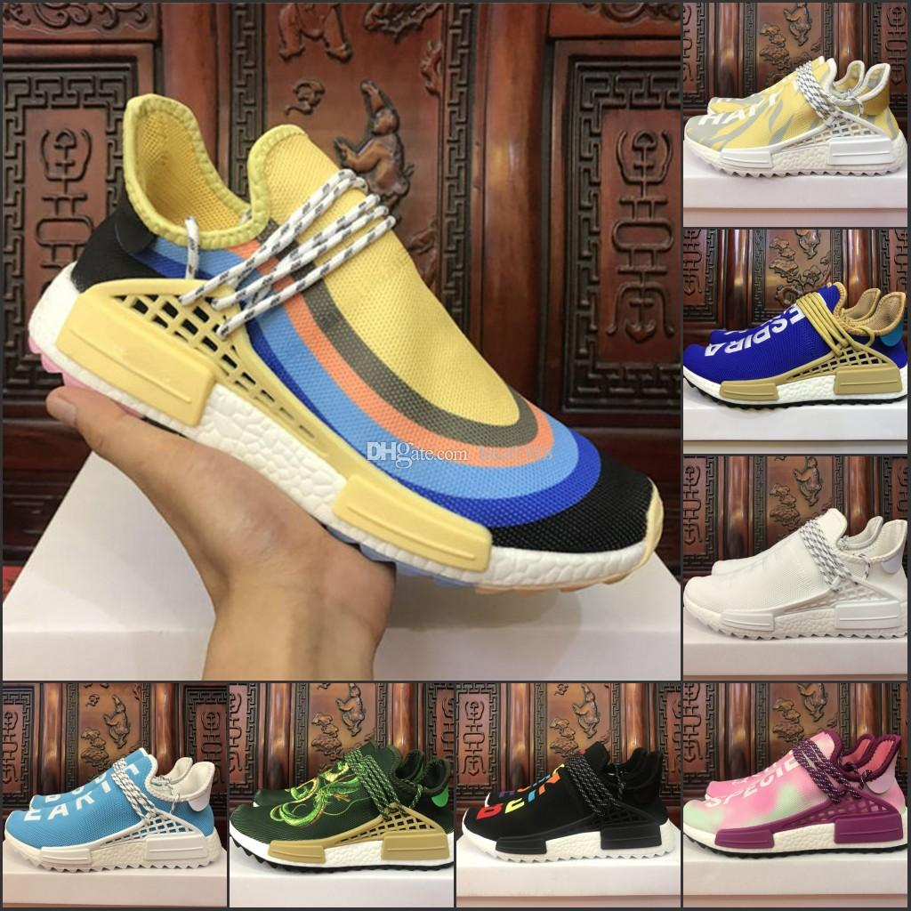 8bc5e2fd4a881 2019 2018 Human Race Sneaker Cream Core Black Nerd White Equality Holi Hu  Trail Nobel Ink Pale Nude Trainer Men Women Sports Running Shoes From  Hua0308