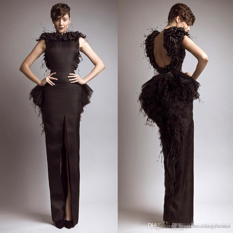 Krikor Jabotian Vintage Formal Vestidos de noche Negro satinado Pluma Sin respaldo Frente Dividir mangas 2019 Vestidos famosos Vestidos de baile