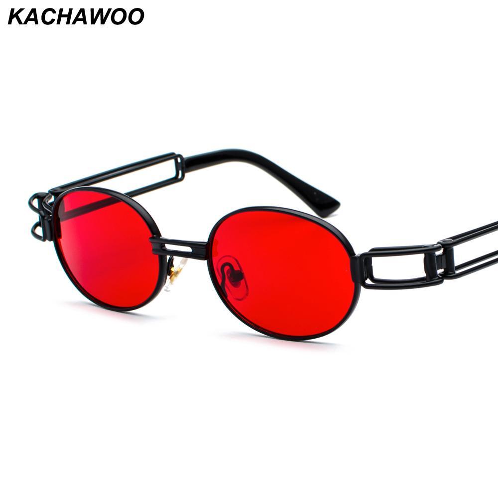 9957903be4 Compre Kachawoo Al Por Mayor 6 Unids Vintage Steampunk Gafas De Sol Hombres  Rojos Accesorios De Metal Marco Oval Gafas De Sol Mujer Estilo Retro  Amarillo A ...