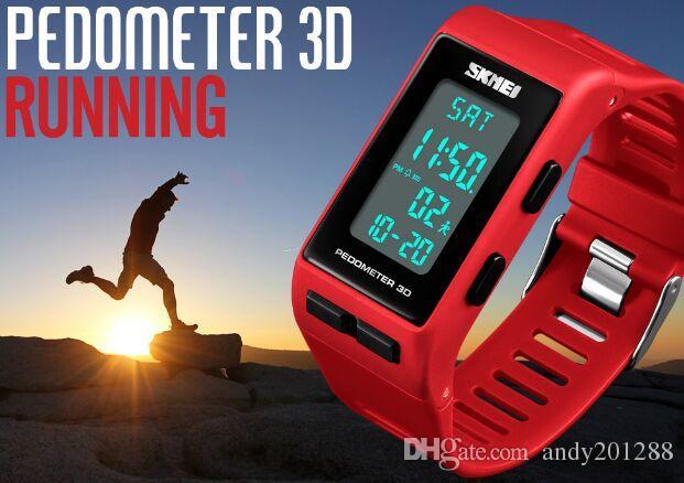 Skmei Pedometer 3D PU Strap Fashion Multifunction Stopwatch Alarm 3 ATM Waterproof Sport Wrist Watch 1363