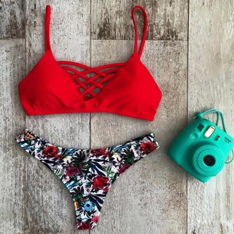 ecff048678481 Women's Bathing Suit Adjustable Spaghetti Strap Floral Print Criss Cross Bikini  Set Summer Beach Swimwear For Women Free Shipping